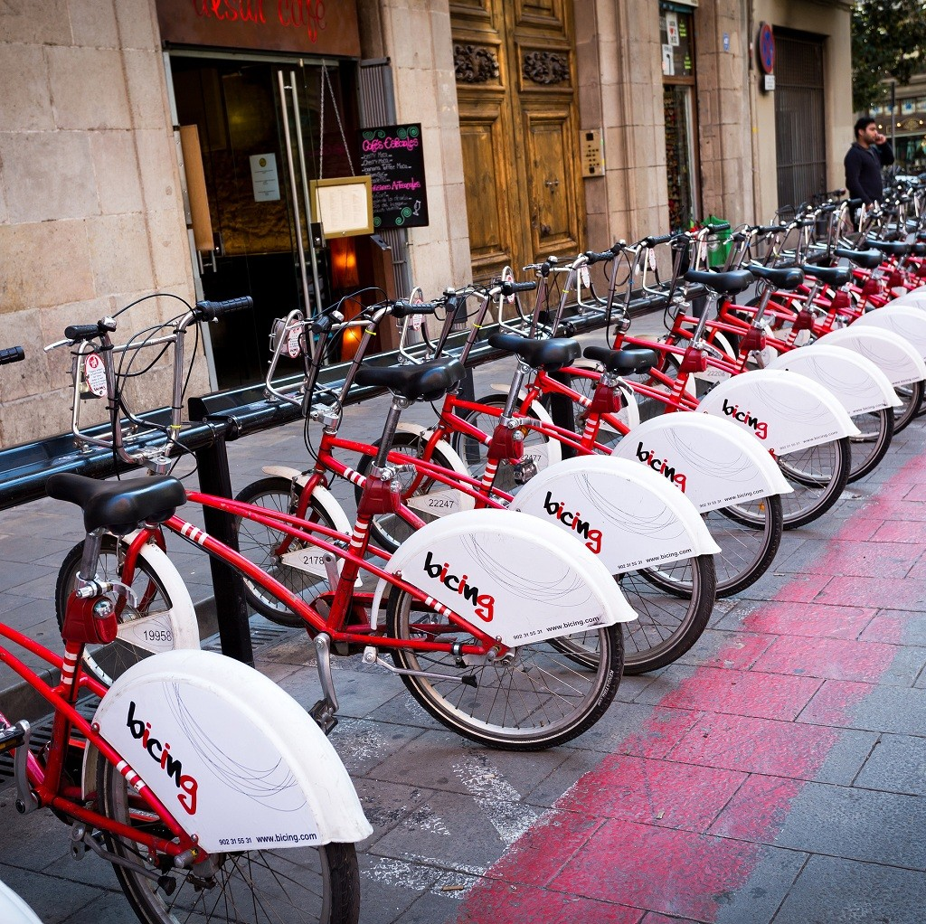 Barcelona Spain - Feb 19 2013: Barcelona sharing bike service known as Bicing is a municipal bicycle service inaugurated on 2007. It is used to cover small and daily routes within the city and is owned by the Ajuntament de Barcelona. There are more than 4